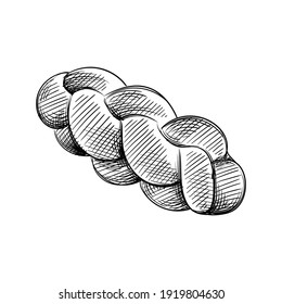 Hand drawn sketch of challah bread on a white background. Bread. Bakery