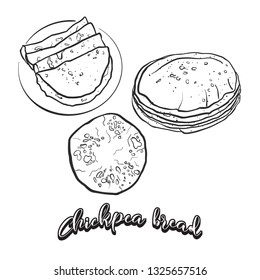 Hand drawn sketch of Chapati bread. Vector drawing of Flatbread food, usually known in South Asia. Bread illustration series.