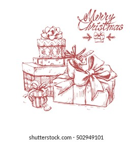 Hand drawn sketch of christmas gifts isolated on white background. Vector vintage line art illustration. Merry christmas text.
