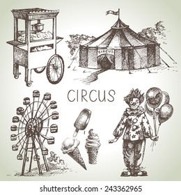 Hand drawn sketch circus and amusement vector illustrations. Vintage icons