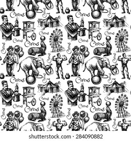 Hand drawn sketch circus and amusement vector illustration. Vintage seamless pattern. Black and white