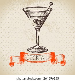 Hand drawn sketch cocktail vintage background. Vector illustration