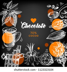 Hand drawn sketch cocoa chocolate product background. Vintage vector chalkboard illustration of natural healthy sweet food