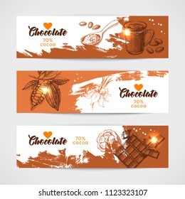 Hand drawn sketch cocoa chocolate product banners set. Vintage vector illustration of natural healthy sweet food