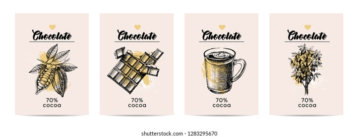 Hand drawn sketch cocoa chocolate product banners. Vintage illustration of natural healthy sweet food. Vector poster set