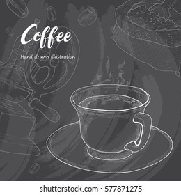Hand drawn sketch coffee cup. Vector illustration background