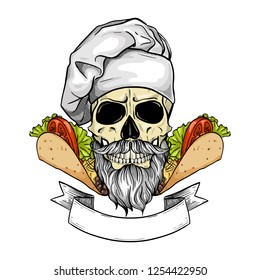 Hand drawn sketch, color skull with cooks hat, sandwich, burger and mustaches