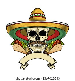 Hand drawn sketch, color skull with taco, sombrero and mustaches