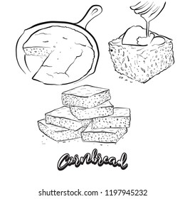 Hand drawn sketch of Cornbread bread. Vector drawing of Cornbread food, usually known in America. Bread illustration series.