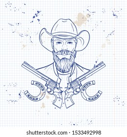 Hand drawn sketch, cowboy with beard and mustaches and horseshoe