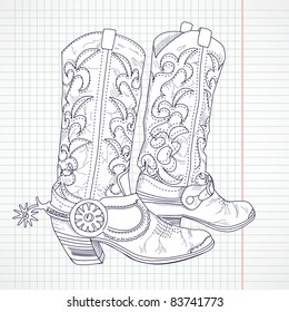 Hand drawn sketch of a cowboy boots