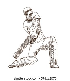 Hand drawn sketch of Cricket player playing game in vector illustration.