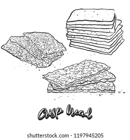 Hand drawn sketch of Crisp bread bread. Vector drawing of Crispy bread food, usually known in Scandinavia. Bread illustration series.