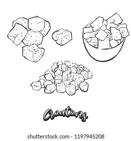 Hand drawn sketch of Croutons bread. Vector drawing of Crispy bread food, usually known in France. Bread illustration series.