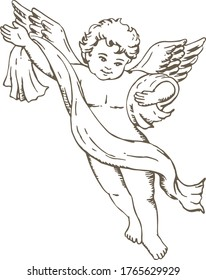 Hand drawn sketch of cute little angel. Vector illustration