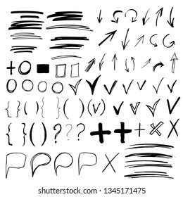 Hand drawn sketch doodle arrows, checkmarks, signs, icons, lines, brush strokes, brackets, speech bubbles, handwritten design elements set isolated on white background