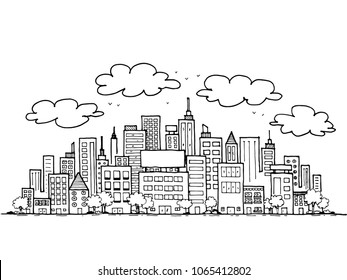 Hand drawn sketch doodle City and buildings. Drawn in black ink on white background