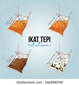 Hand drawn sketch doodle of Ikat Tepi Edition. Malaysian tapau drinks with ikat tepi. Teh O Ais Limau or plain with iced coffee also known as kopi ais and soya with cincau grass jelly. Truly Malaysian