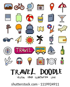 Hand drawn Sketch doodle vector line Travel colour icon set on white