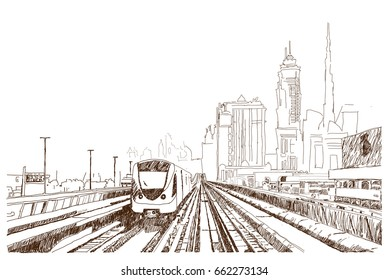 Hand drawn sketch of Dubai Metro in vector illustration