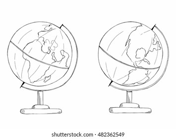 Hand drawn sketch of earth globe on both sides vector
