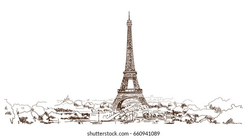 Hand drawn sketch of Eiffel Tower in vector illustration