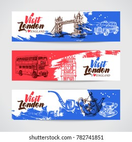 Hand drawn sketch England vintage banners. Vector London illustration. Great Britain background set