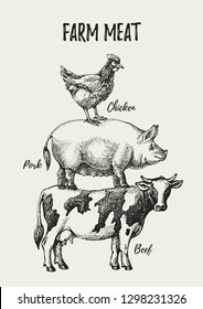 Hand drawn sketch farm animals set. Vector black and white vintage illustration poster