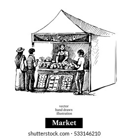 Hand drawn sketch farmers market bazaar stall vegetables fruits food counter with people. Vector black and white vintage illustration