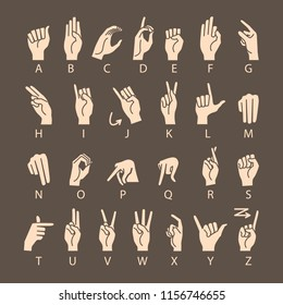 Hand Drawn Sketch of Finger Spelling The Alphabet in American Sign Language Isolated on brown Background. art