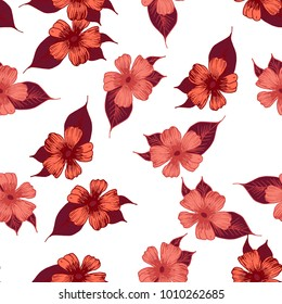 hand drawn sketch flower rose on white background textile fabric . vector seamless pattern