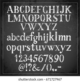 Hand drawn sketch font on blackboard background