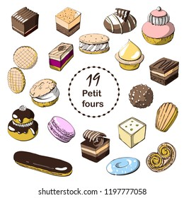 Hand drawn sketch with french dessert :croissants, eclairs,Petit fours ,religious, pain au chocolate,tarte citron, tarte tartin, opera cake, madeleine, macaroni and others. Colorful illustration on wh