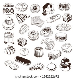Hand drawn sketch with french dessert :croissants, eclairs,Petit fours ,religious, pain au chocolate,tarte citron, tarte tartin, opera cake, madeleine, macaroni and others. Big set for design.