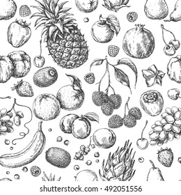 Hand drawn sketch of fruits and berries. Monochrome seamless pattern.