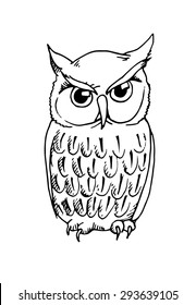 Hand drawn sketch fun owl. Vector illustration on white background.