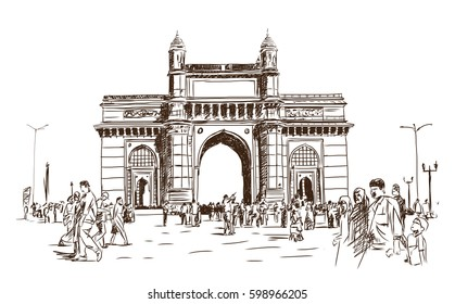 Hand drawn sketch of gate way of India Mumbai Maharashtra India in vector illustration.