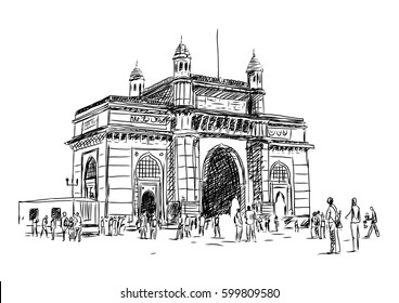 Hand drawn sketch of Gate Way of India in Mumbai. Vector illustration.