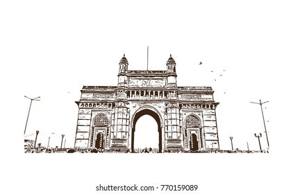 Hand drawn sketch of Gateway of india Mumbai, India in vector illustration.