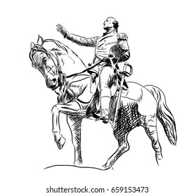 Hand drawn sketch of General George Washington Equestrian Statue at Union Square in Manhattan. Vector illustration.