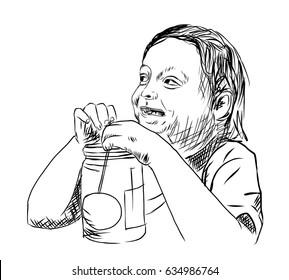 Hand drawn sketch of gird drinking juice in vector illustration.