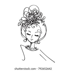 hand drawn, sketch girl face illustration, original sketch vector file