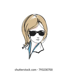 hand drawn, sketch girl face with sunglass illustration, original sketch vector file