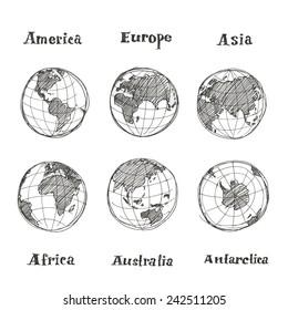 Hand drawn sketch globe