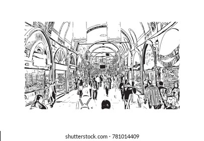 Hand drawn sketch of Grand Bazaar Istanbul, Turkey in vector illustration.