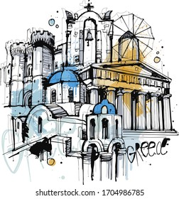 Hand drawn sketch of greece buildings