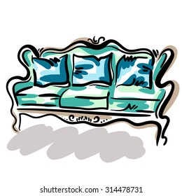 Hand drawn sketch of a green classic couch with blue pillows. Elegant furniture.