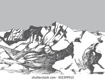 A hand drawn sketch in grey colors of a Himalayas. Can be used as an illustration for articles about mountains, adventure, trekking, nature, climbing