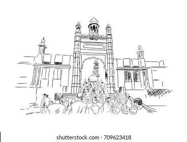 Hand drawn sketch of Haji Ali Mumbai, India. Vector illustration.