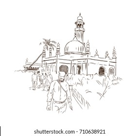 Hand drawn sketch of Haji Ali Dargah Mumbai India. Vector illustration.